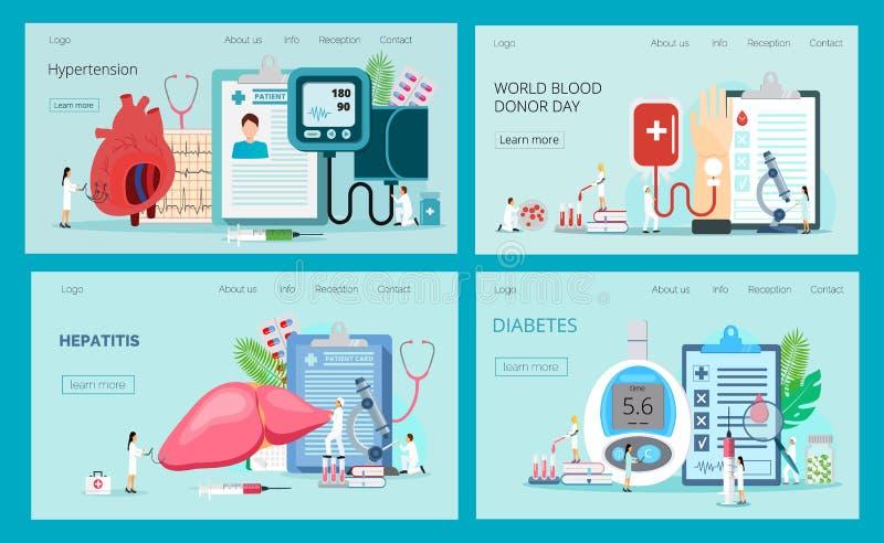 Páginas de aterrissagem com medidor de testes da glicemia, hipotensão e hipertensão, hepatite, doação de sangue ilustração do vetor