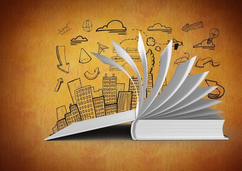 páginas de giro abertas do livro 3D contra o fundo alaranjado com os desenhos da ilustração da cidade ilustração do vetor