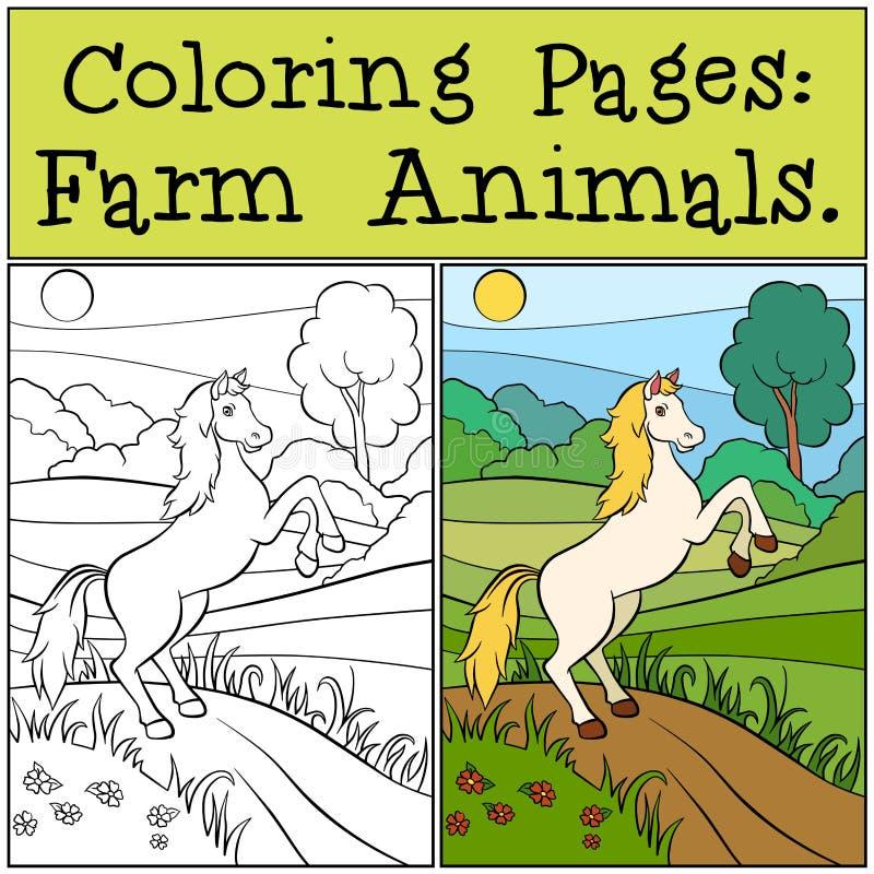 Páginas del colorante: Animales del campo Caballo lindo ilustración del vector