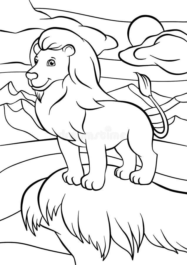 Páginas del colorante Animales León lindo stock de ilustración
