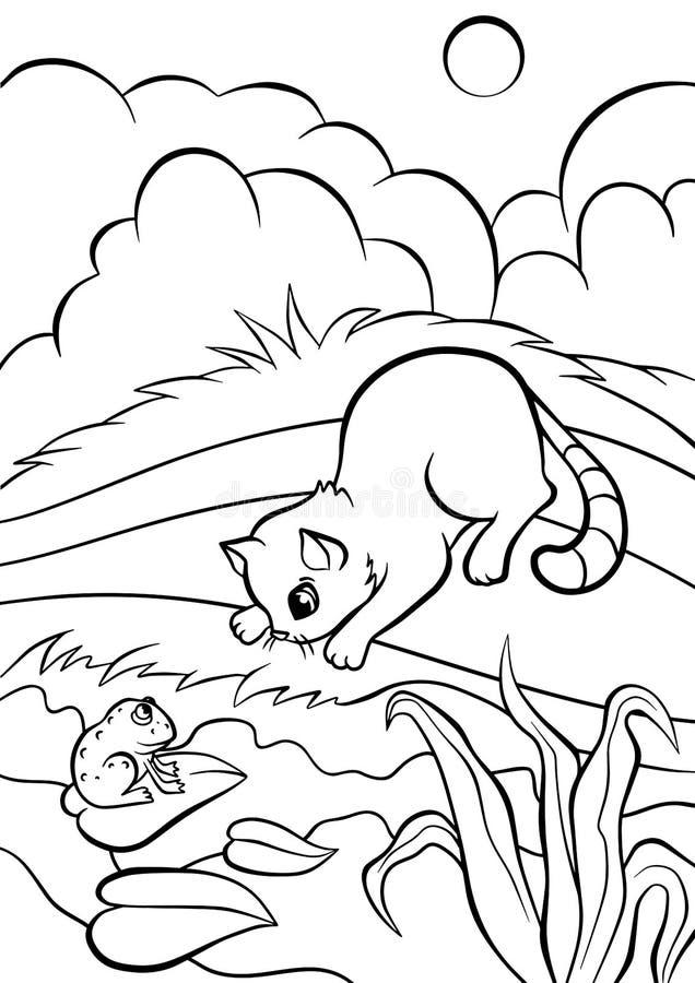 Páginas del colorante Animales Pequeño gato lindo ilustración del vector