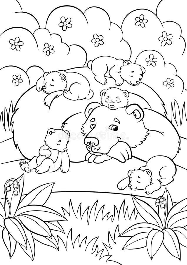 Páginas del colorante Animales salvajes El oso bueno mira poco bab lindo ilustración del vector