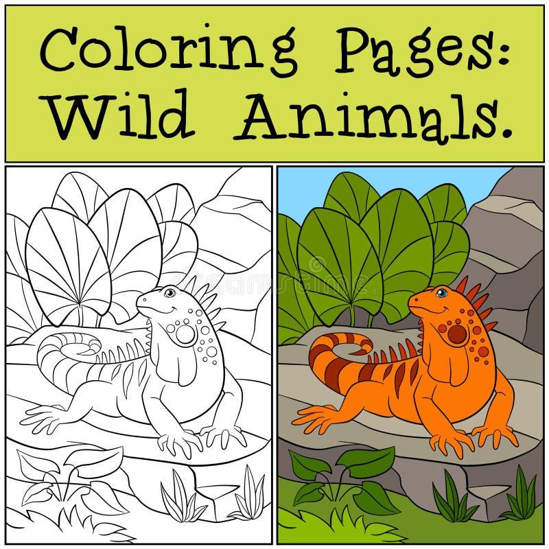 Páginas del colorante: Animales salvajes Iguana anaranjada linda ilustración del vector