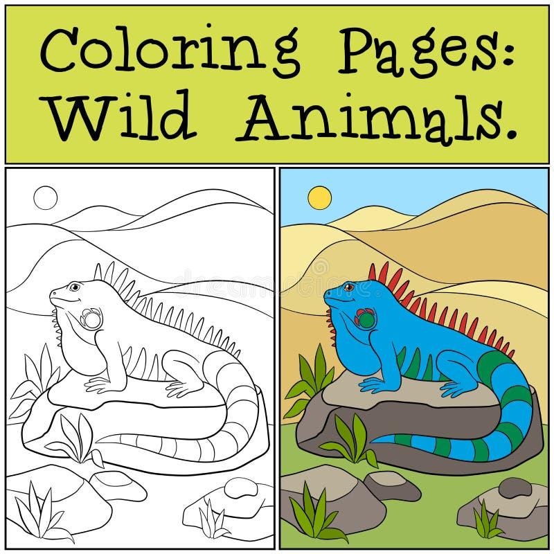 Páginas del colorante: Animales salvajes Iguana azul linda ilustración del vector
