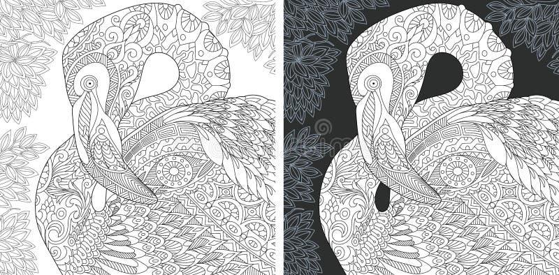 Páginas del colorante con el flamenco ilustración del vector