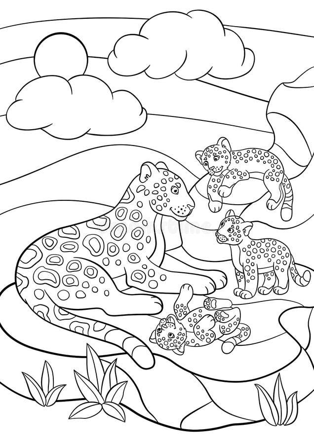 Páginas Del Colorante Jaguar De La Madre Con Sus Pequeños Cachorros ...