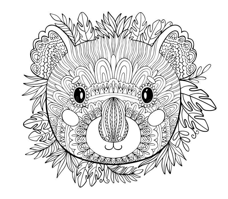 Páginas del colorante Libro de colorear para los adultos Plantilla hermosa con las ilustraciones Educación escolar Koala animal y libre illustration
