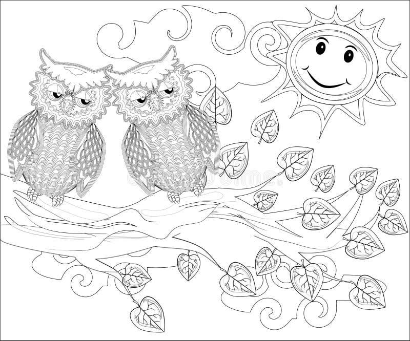 Páginas del colorante pájaros El búho lindo se sienta en el árbol libre illustration