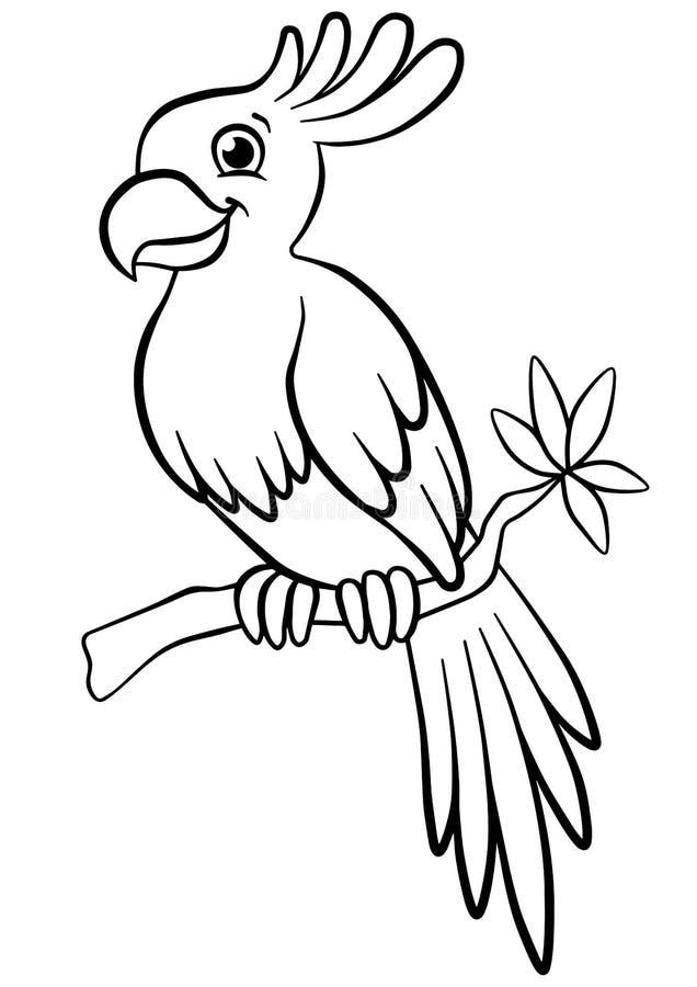 Páginas del colorante pájaros Pequeño loro lindo stock de ilustración