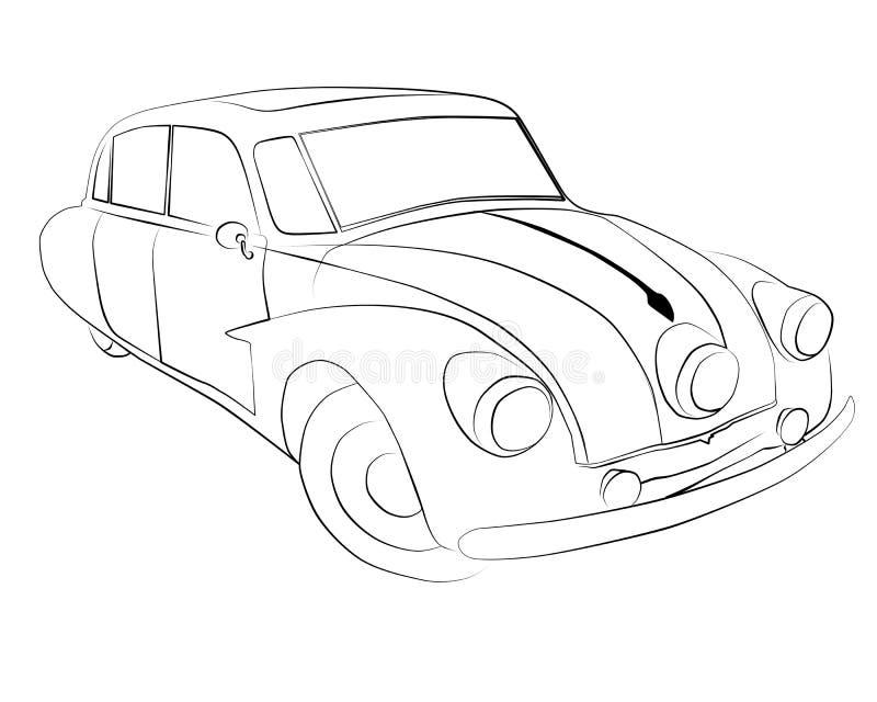Páginas del colorante para imprimir el coche Tatra T87 imagen de archivo