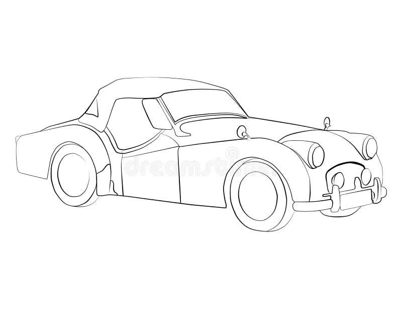 Páginas del colorante para imprimir el coche Triumph TR2 foto de archivo libre de regalías