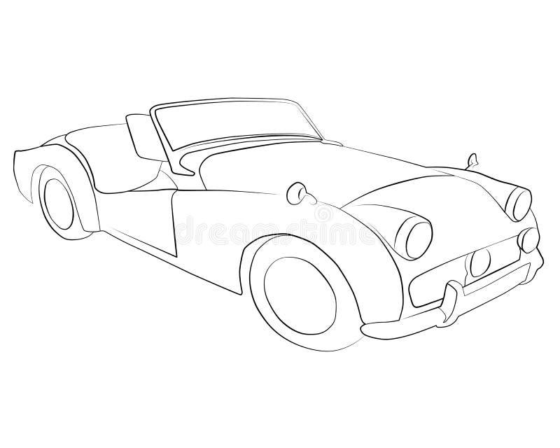 Páginas del colorante para imprimir el coche Triumph_ TR3eseven imagenes de archivo