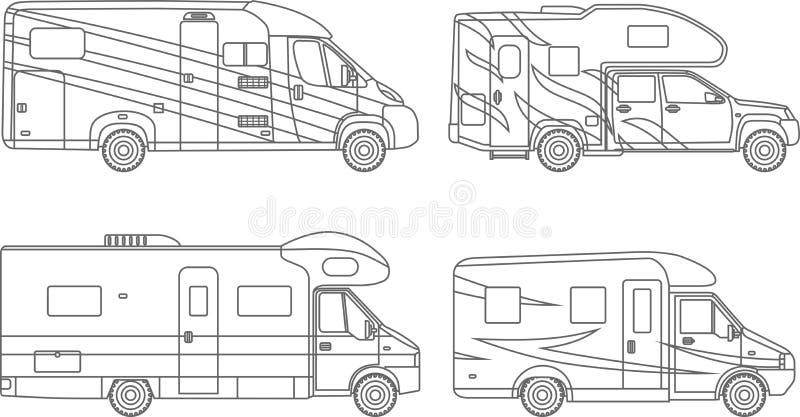 Páginas del colorante Sistema de diversas siluetas coche, iconos lineares planos de los remolques del viaje en el fondo blanco mo stock de ilustración