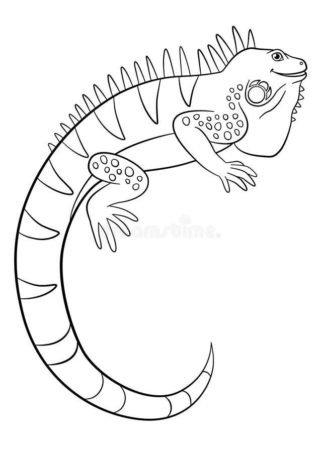 Páginas del colorante Sonrisas lindas de la iguana libre illustration