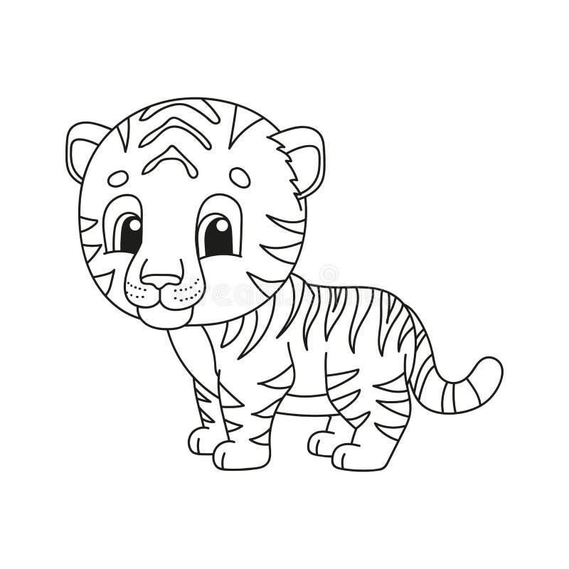 Páginas del libro de colorear para los niños Ejemplo lindo del vector de la historieta ilustración del vector