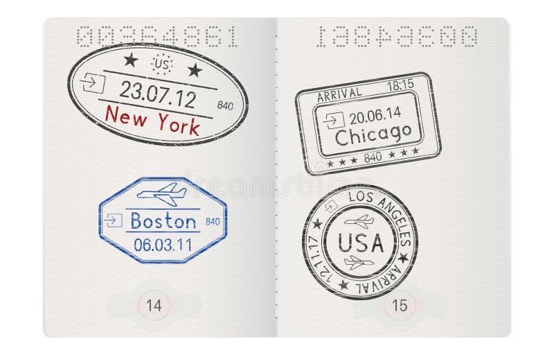 Páginas del pasaporte con los sellos americanos de la llegada de las ciudades stock de ilustración