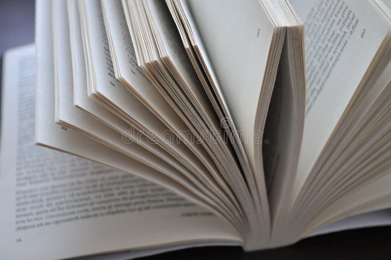Páginas do close up de um livro aberto fotografia de stock