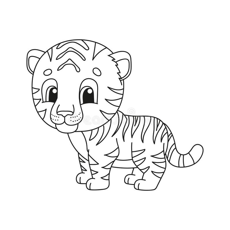 Páginas do livro para colorir para crianças Ilustração bonito do vetor dos desenhos animados ilustração do vetor