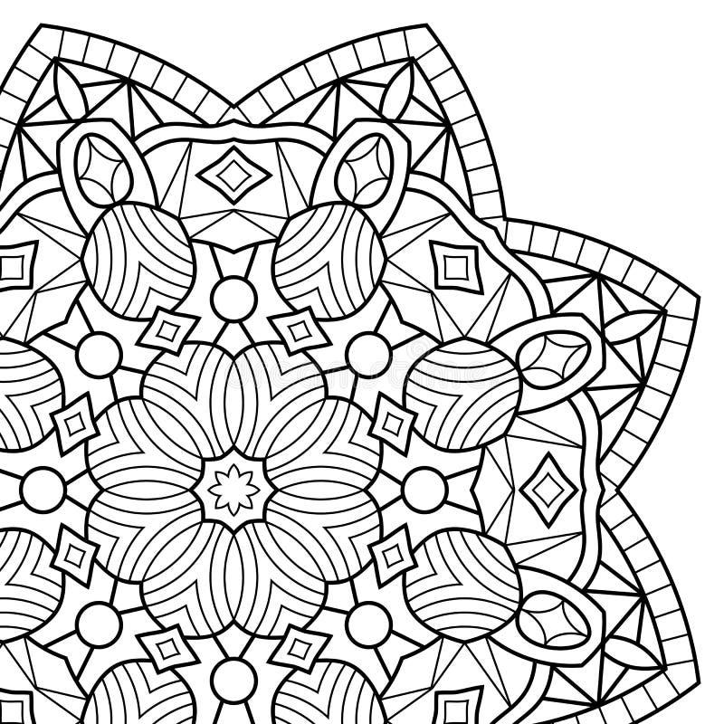 Páginas do livro para colorir mandala ilustração stock