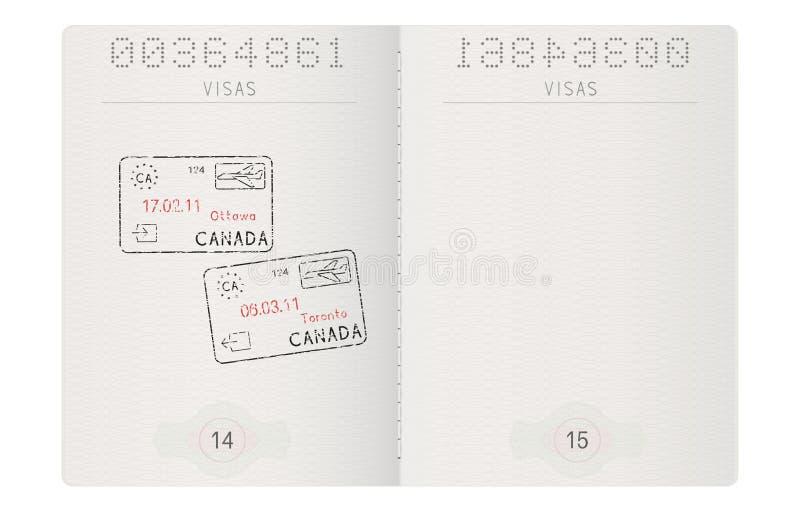 Páginas do passaporte Com selo de Ottawa e de Toronto, Canadá ilustração stock