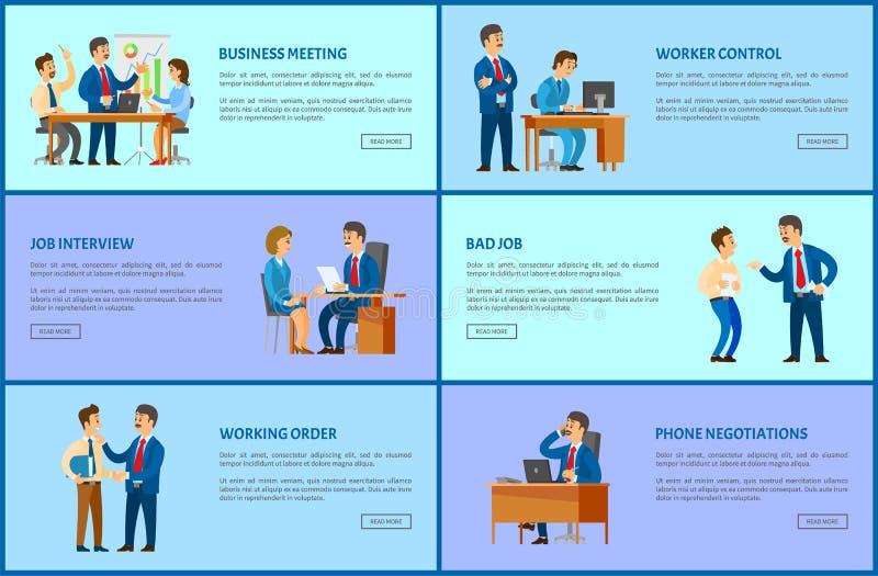 Páginas dos relacionamentos do chefe e do empregado Trabalho de escritório ilustração stock