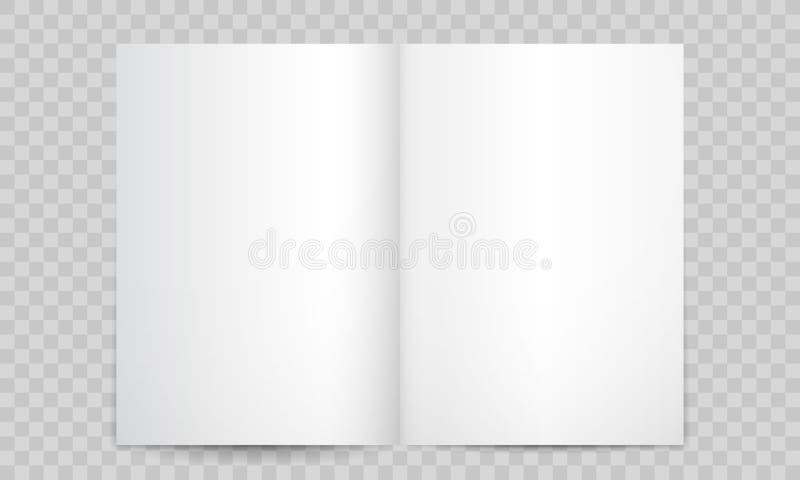 Páginas en blanco abiertas del libro o de la revista Maqueta vertical aislada del folleto o del folleto A4 del catálogo 3D, págin ilustración del vector