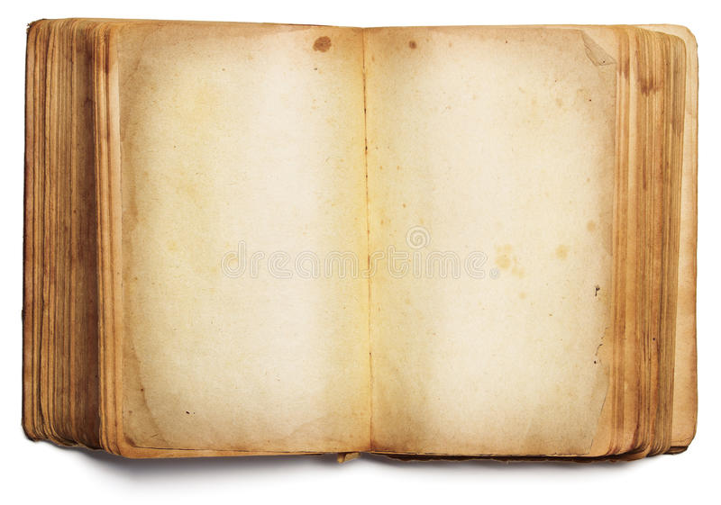 Páginas en blanco abiertas del libro viejo, papel vacío aislado en blanco fotografía de archivo