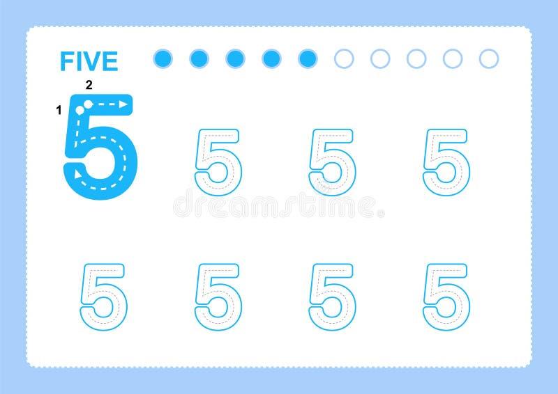 Páginas livres da escrita para escrever os números que aprendem números, números que seguem a folha para o jardim de infância ilustração do vetor