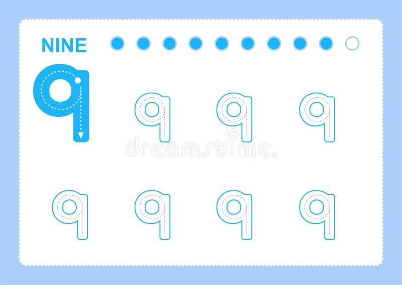 Páginas livres da escrita para escrever os números que aprendem números, números que seguem a folha para o jardim de infância ilustração stock