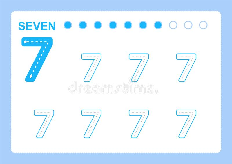 Páginas livres da escrita para escrever os números que aprendem números, números que seguem a folha para o jardim de infância ilustração royalty free