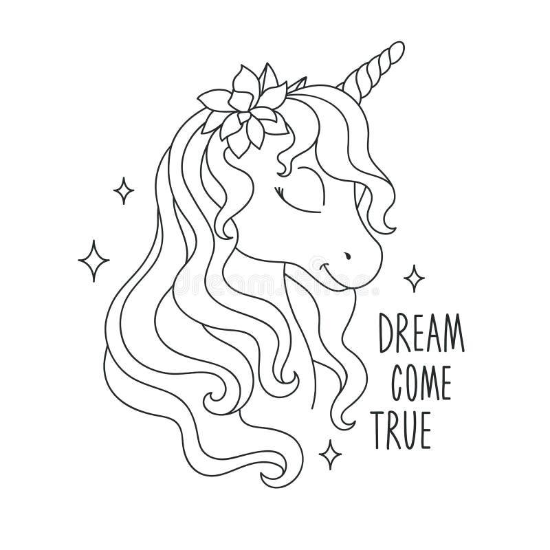 Páginas oloring del ¡de Ð Dibujo del unicornio El sue?o viene texto verdadero Dise?o para los ni?os Forme el dibujo del ejemplo e stock de ilustración
