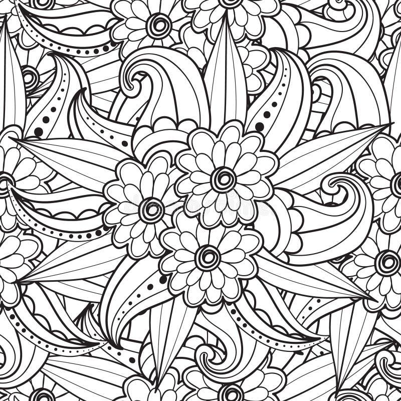 Páginas para o livro para colorir adulto Entregue ornamental étnico artístico o quadro floral modelado tirado na garatuja ilustração do vetor