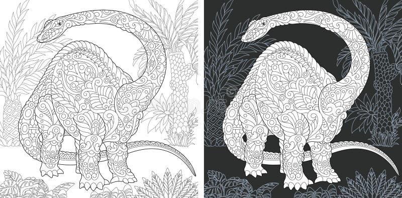 Páginas que colorean con el Brontosaurus stock de ilustración