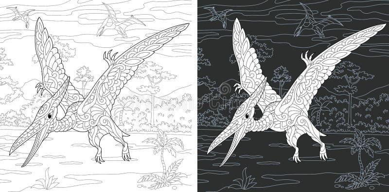 Páginas que colorean con el pterodáctilo stock de ilustración