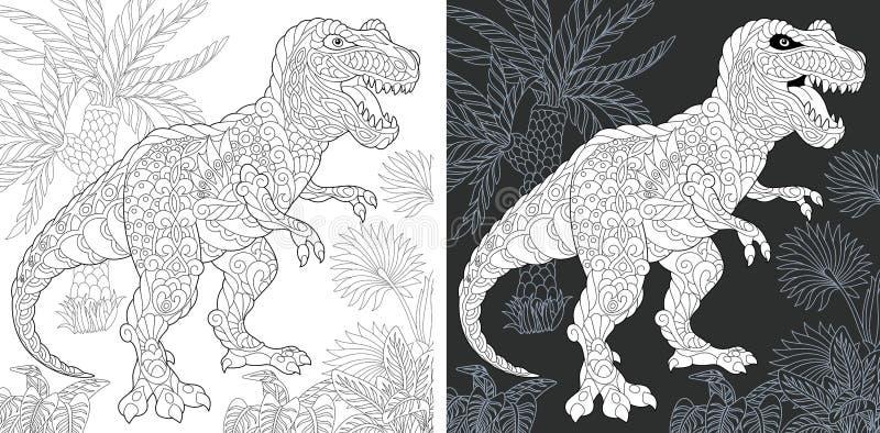 Páginas que colorean con el rex del tiranosaurio libre illustration