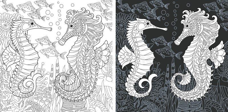 Páginas que colorean con los caballos de mar stock de ilustración