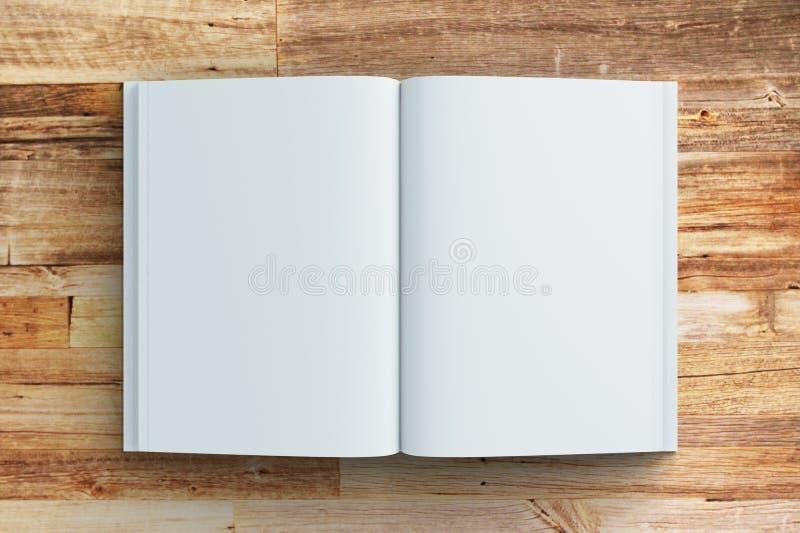 Páginas vazias do diário na tabela de madeira ilustração do vetor
