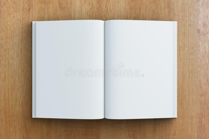 Páginas vazias do diário na tabela de madeira ilustração stock