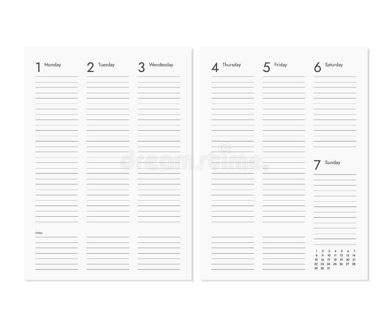 Páginas vazias realísticas do diário com o calendário semanal e mensal ilustração do vetor