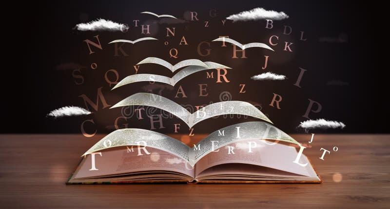 Páginas y letras que brillan intensamente que vuelan de un libro libre illustration