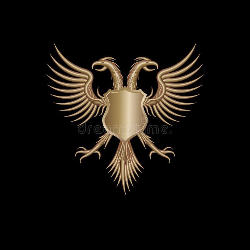 Pájaro abstracto aislado con el escudo fotografía de archivo