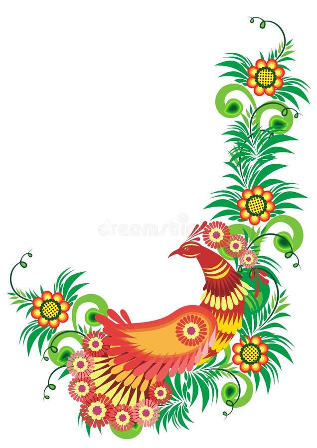 Pájaro abstracto en rama floral libre illustration