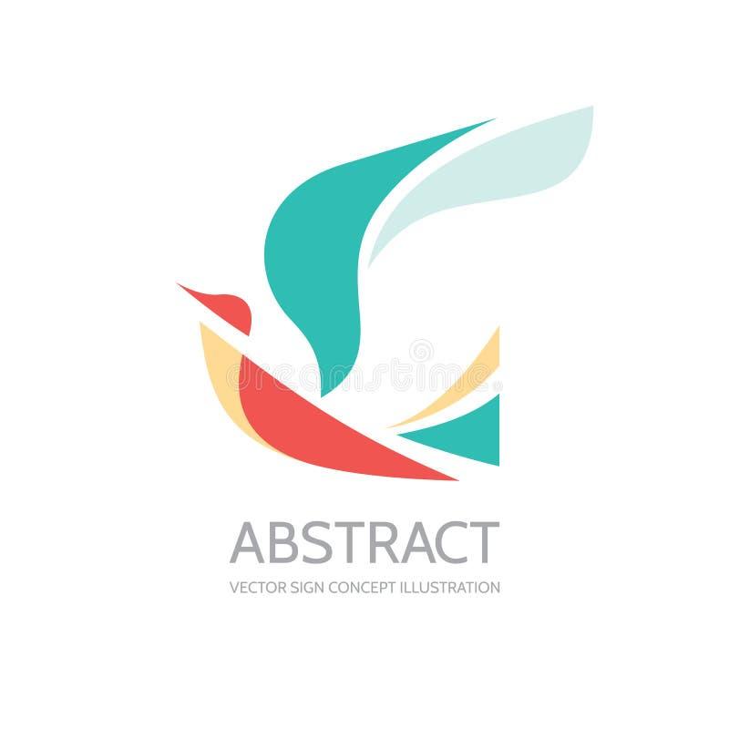 Pájaro abstracto - vector el ejemplo del concepto de la plantilla del logotipo Muestra de la paloma Se va volando símbolo Element libre illustration