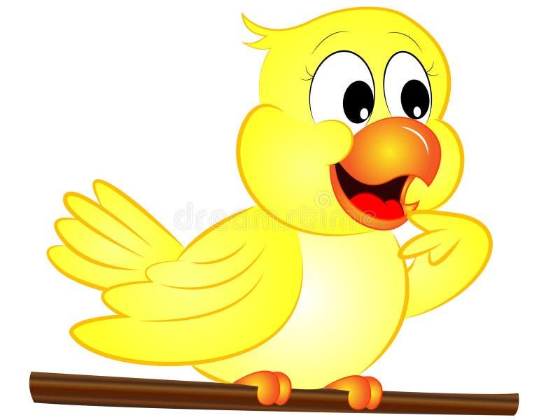 pájaro amarillo de la historieta ilustración del vector