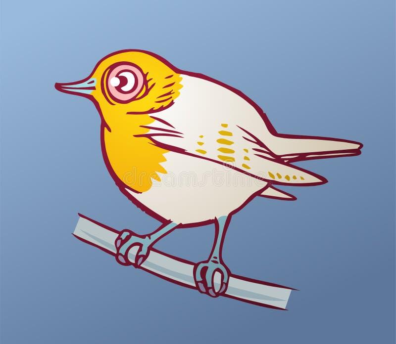 Pájaro amarillo en un fondo azul stock de ilustración