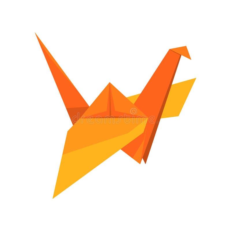 Pájaro anaranjado de la grúa hecho del papel en el ejemplo del vector de la técnica de la papiroflexia en un fondo blanco stock de ilustración