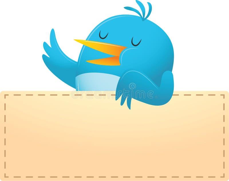 Pájaro azul con la bandera en blanco stock de ilustración