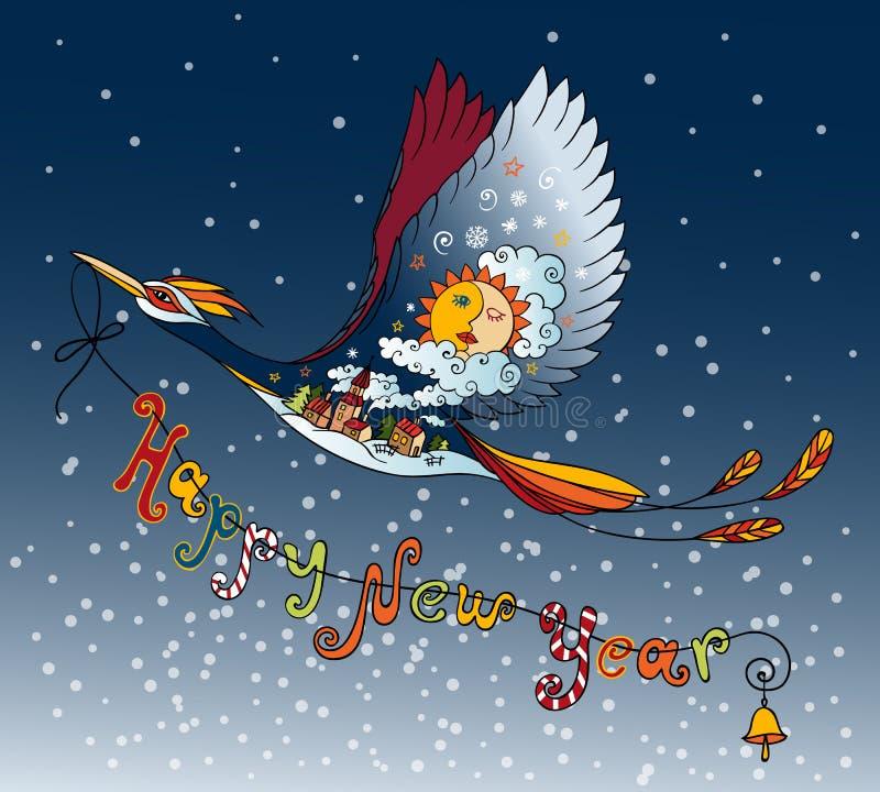 Pájaro azul en el cielo del invierno de la noche Tarjeta de Navidad ilustración del vector
