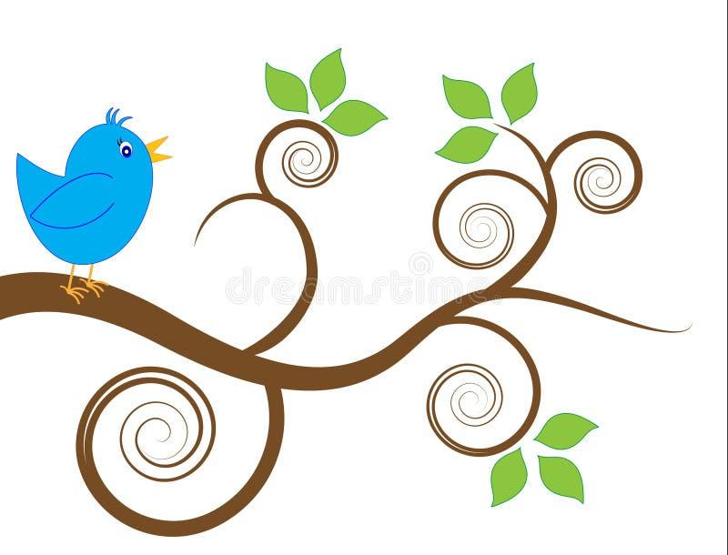 Pájaro azul en una ramificación ilustración del vector