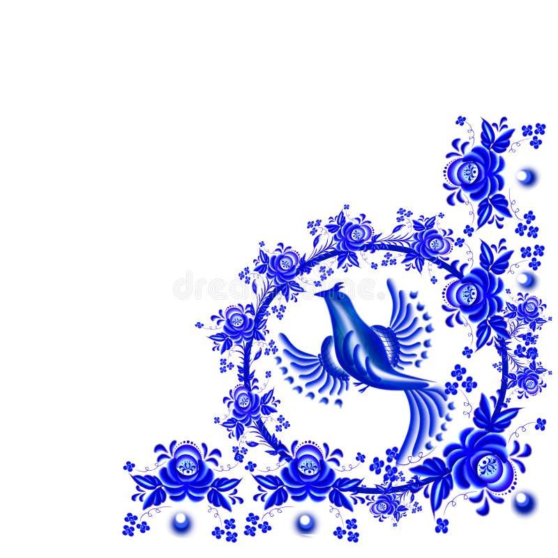 Pájaro azul Ornamento floral de la esquina stock de ilustración